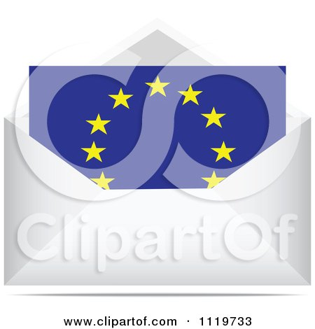 Clipart Of A European Letter In An Envelope - Royalty Free Vector Illustration by Andrei Marincas