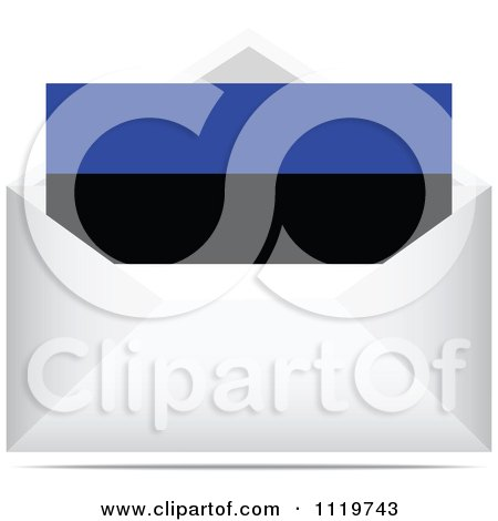 Clipart Of An Estonian Letter In An Envelope - Royalty Free Vector Illustration by Andrei Marincas