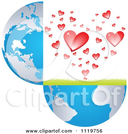 Clipart Of An Open Globe With Hearts - Royalty Free Vector Illustration by Andrei Marincas