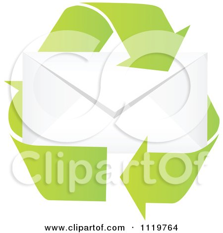 Clipart Of Recycle Arrows Around An Envelope - Royalty Free Vector Illustration by Andrei Marincas