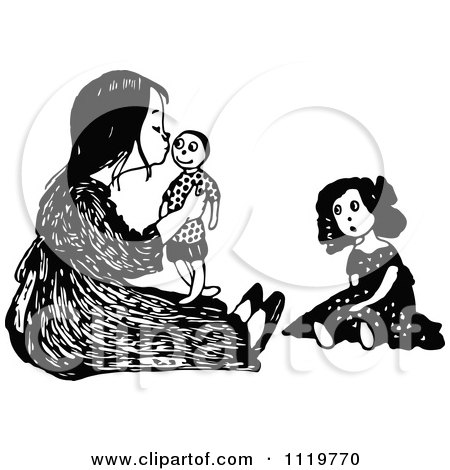 Clipart Of A Retro Vintage Black And White Girl Kissing Her Male Doll - Royalty Free Vector Illustration by Prawny Vintage