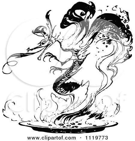 Clipart Of A Retro Vintage Black And White Dragon In Flames - Royalty Free Vector Illustration by Prawny Vintage