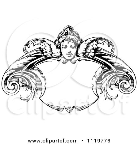 Clipart Of A Retro Vintage Black And White Angel Shield Frame - Royalty Free Vector Illustration by Prawny Vintage