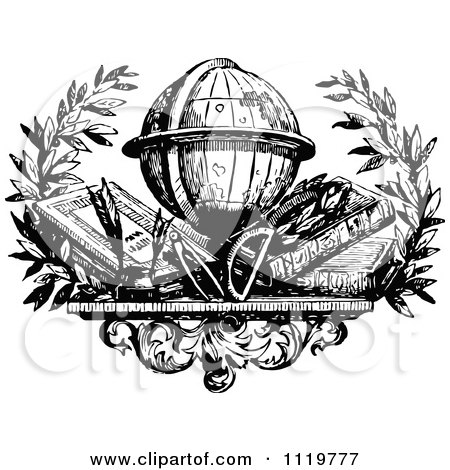 Clipart Of A Retro Vintage Black And White Desk Globe With Books - Royalty Free Vector Illustration by Prawny Vintage