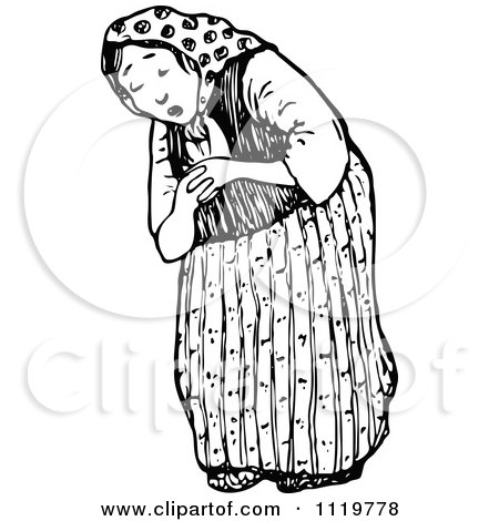 Clipart Of A Retro Vintage Black And White Tired Old Lady - Royalty Free Vector Illustration by Prawny Vintage