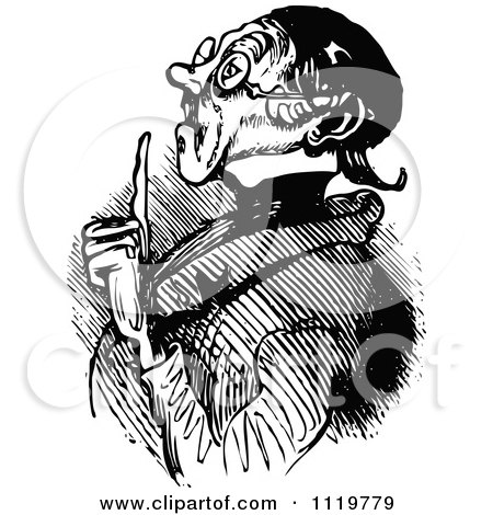 Clipart Of A Retro Vintage Black And White Old Man Holding Up A Finger - Royalty Free Vector Illustration by Prawny Vintage