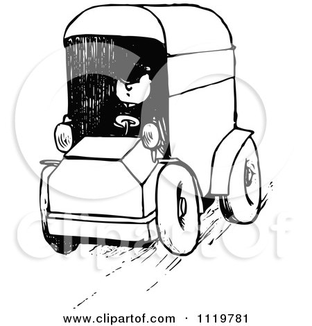 Clipart Of A Black And White Trash Truck