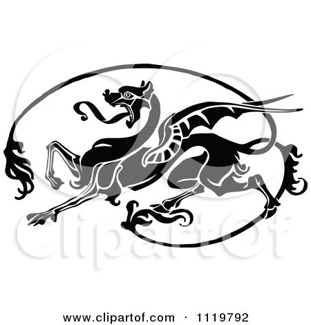 Clipart Of A Retro Vintage Black And White Dragon - Royalty Free Vector Illustration by Prawny Vintage