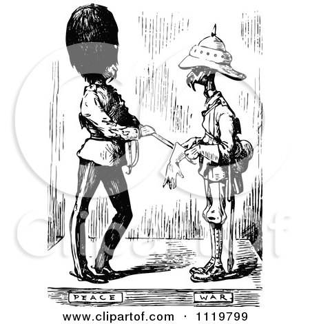 Clipart Of Retro Vintage Black And White War And Peace Soldiers - Royalty Free Vector Illustration by Prawny Vintage