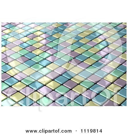 Clipart Of A 3d Shiny Pastel Tile Background - Royalty Free CGI Illustration by stockillustrations