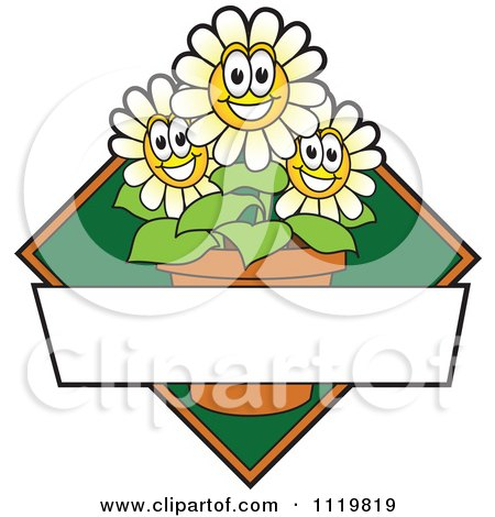 Cartoon Of A Happy White Daisy Flower Logo Or Sign Design With Copyspace And A Green Diamond - Royalty Free Vector Clipart by Toons4Biz