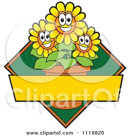 Cartoon Of A Happy Yellow Daisy Flower Logo Or Sign Design With Copyspace And A Green Diamond - Royalty Free Vector Clipart by Toons4Biz