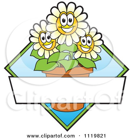 Cartoon Of A Happy Daisy Flower Logo Or Sign Design With Copyspace And A Blue Diamond - Royalty Free Vector Clipart by Toons4Biz