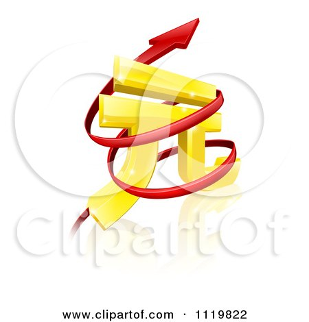 Clipart Of A 3d Golden Yuan Currency Symbol With Spiraling Arrows - Royalty Free Vector Illustration by AtStockIllustration