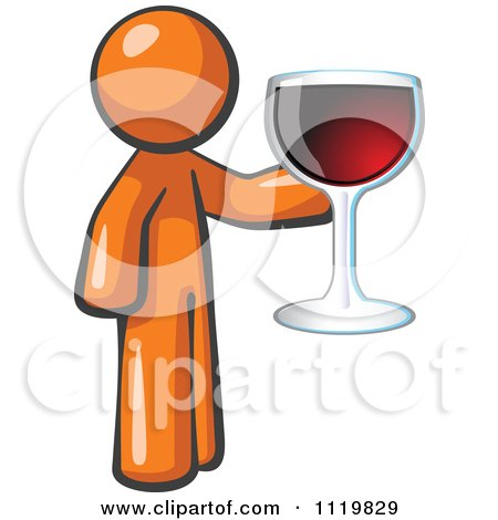 Cartoon Of An Orange Man Wine Tasting And Giving A Toast - Royalty Free Vector Clipart by Leo Blanchette