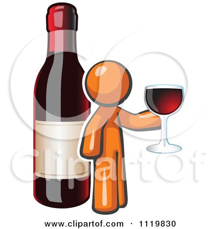 Cartoon Of An Orange Man Wine Tasting By A Giant Bottle - Royalty Free Vector Clipart by Leo Blanchette