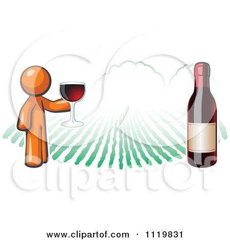 Cartoon Of An Orange Man Wine Tasting At A Winery - Royalty Free Vector Clipart by Leo Blanchette