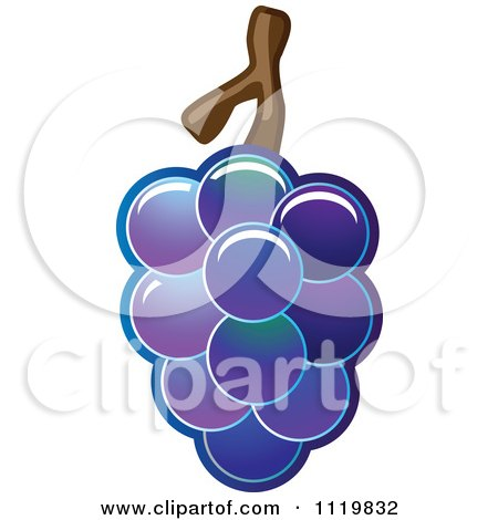Cartoon Of A Bunch Of Shiny Purple Grapes - Royalty Free Vector Clipart by Leo Blanchette