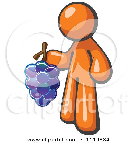 Cartoon Of An Orange Man Vintner Wine Maker Holding Grapes - Royalty Free Vector Clipart by Leo Blanchette
