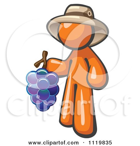 Cartoon Of An Orange Man Vintner Wine Maker Wearing A Hat And Holding Grapes - Royalty Free Vector Clipart by Leo Blanchette