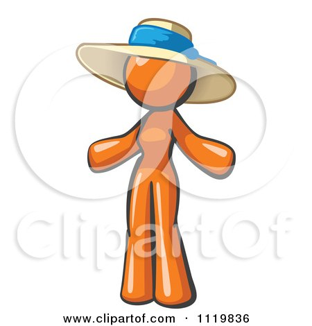 Cartoon Of An Orange Woman Wearing A Sun Hat - Royalty Free Vector Clipart by Leo Blanchette