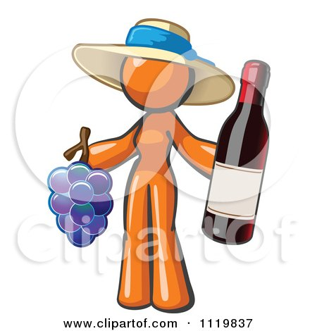 Cartoon Of An Orange Woman Vintner Wine Maker Wearing A Hat And Holding Grapes And Wine - Royalty Free Vector Clipart by Leo Blanchette