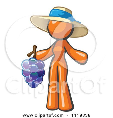Cartoon Of An Orange Woman Vintner Wine Maker Wearing A Hat And Holding Grapes - Royalty Free Vector Clipart by Leo Blanchette
