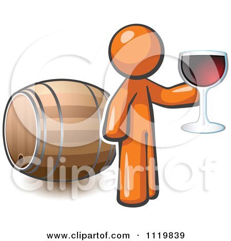Cartoon Of An Orange Man Toasting By A Wine Barrel At A Winery - Royalty Free Vector Clipart by Leo Blanchette