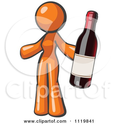 Cartoon Of An Orange Woman Vintner Holding A Bottle Of Red Wine - Royalty Free Vector Clipart by Leo Blanchette