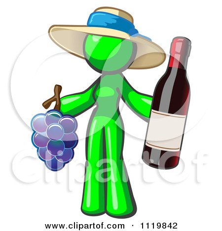 Cartoon Of A Lime Green Woman Vintner Wine Maker Wearing A Hat And Holding Grapes And Wine - Royalty Free Vector Clipart by Leo Blanchette