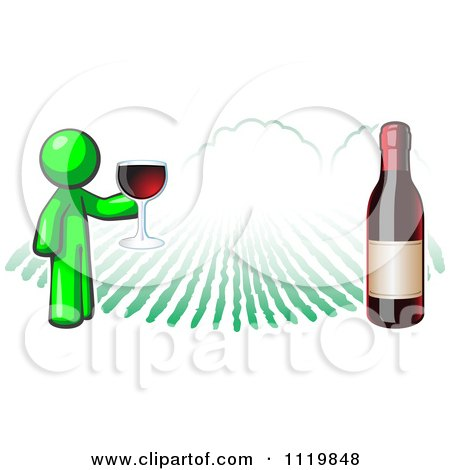 Cartoon Of A Lime Green Man Wine Tasting At A Winery - Royalty Free Vector Clipart by Leo Blanchette