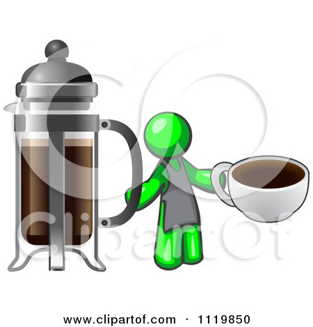 Cartoon Of A Lime Green Man Barista Holding A Cup Of Coffee By A French Press - Royalty Free Vector Clipart by Leo Blanchette
