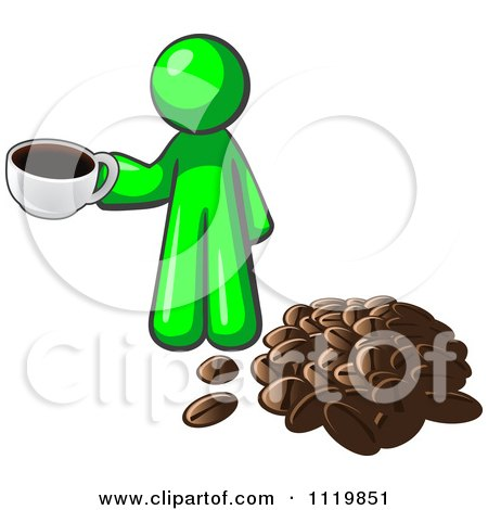 Cartoon Of A Lime Green Man With A Cup Of Coffee By Beans - Royalty Free Vector Clipart by Leo Blanchette