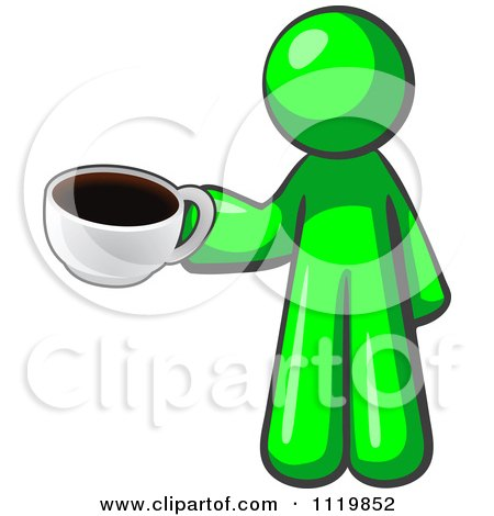 Cartoon Of A Lime Green Man With A Cup Of Coffee - Royalty Free Vector Clipart by Leo Blanchette