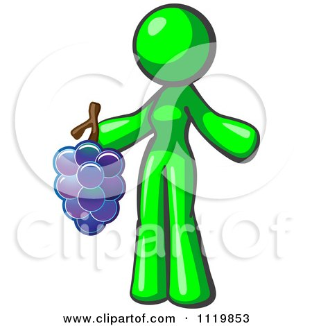 Cartoon Of A Lime Green Woman Vintner Wine Maker Holding Grapes - Royalty Free Vector Clipart by Leo Blanchette