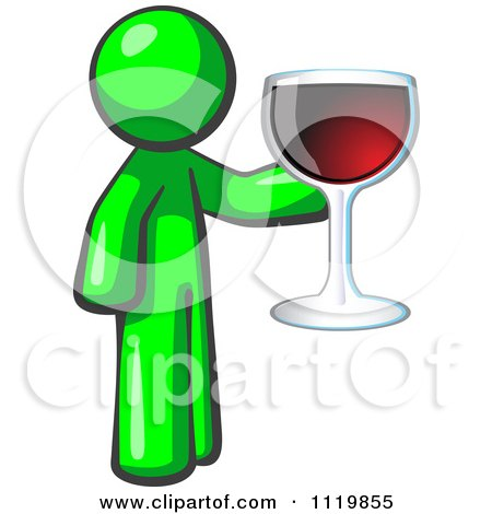 Cartoon Of A Lime Green Man Wine Tasting And Giving A Toast - Royalty Free Vector Clipart by Leo Blanchette