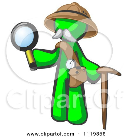 Cartoon Of A Lime Green Man Explorer With A Pack Cane And Magnifying Glass - Royalty Free Vector Clipart by Leo Blanchette