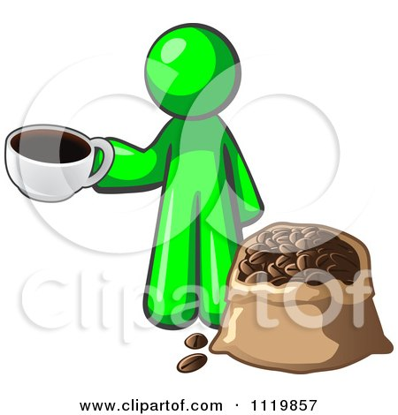 Cartoon Of A Lime Green Man With A Cup Of Coffee Over A Bag Of Beans - Royalty Free Vector Clipart by Leo Blanchette