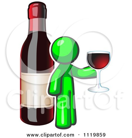 Cartoon Of A Lime Green Man Wine Tasting By A Giant Bottle - Royalty Free Vector Clipart by Leo Blanchette