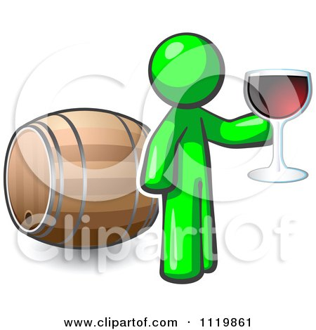 Cartoon Of A Lime Green Man Toasting By A Wine Barrel At A Winery - Royalty Free Vector Clipart by Leo Blanchette