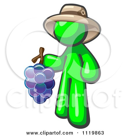 Cartoon Of A Lime Green Man Vintner Wine Maker Wearing A Hat And Holding Grapes - Royalty Free Vector Clipart by Leo Blanchette