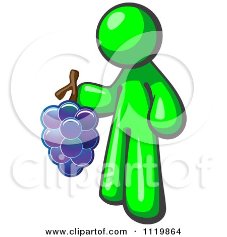 Cartoon Of A Lime Green Man Vintner Wine Maker Holding Grapes - Royalty Free Vector Clipart by Leo Blanchette
