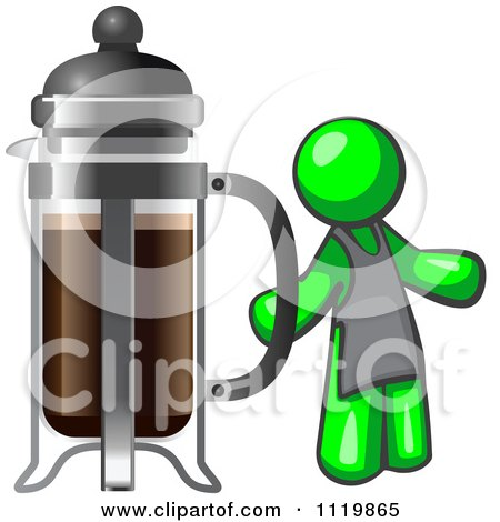 Cartoon Of A Lime Green Man Barista By A Coffee French Press - Royalty Free Vector Clipart by Leo Blanchette