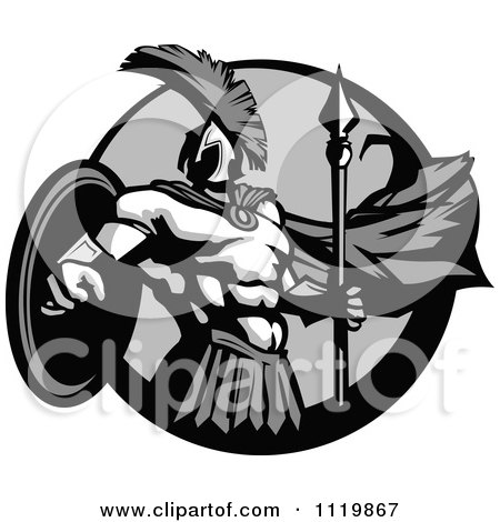 Clipart Of A Grayscale Strong Spartan Warrior In A Circle - Royalty Free Vector Illustration by Chromaco