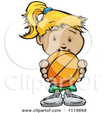 Cartoon Of A Cute Blond Girl Holding A Basketball - Royalty Free Vector Clipart by Chromaco