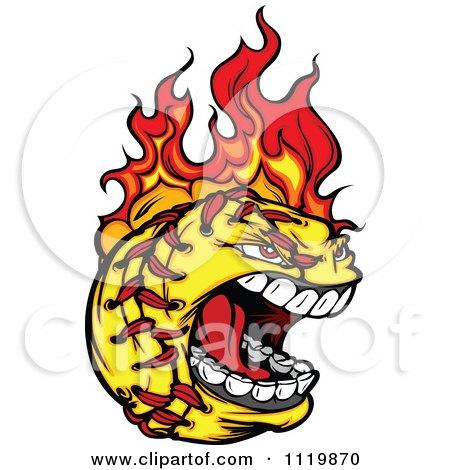 Cartoon Of A Fiery Aggressive Screaming Softball Mascot - Royalty Free Vector Clipart by Chromaco