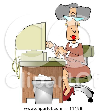 Gray Haired Secretary Woman Working at a Computer Desk in an Office Clipart Illustration by djart