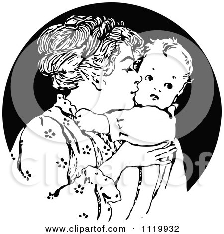 Clipart Of A Retro Vintage Black And White Nurturing Mother Kissing Her Baby - Royalty Free Vector Illustration by Prawny Vintage