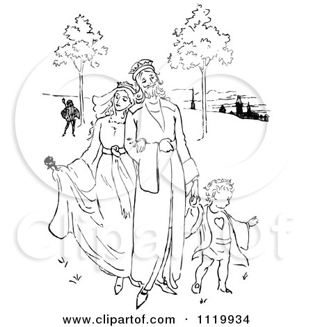Clipart Of A Retro Vintage Black And White King And Queen With A Son - Royalty Free Vector Illustration by Prawny Vintage