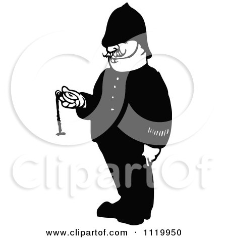 Clipart Of A Retro Vintage Black And White Police Man Holding A Pocket Watch - Royalty Free Vector Illustration by Prawny Vintage